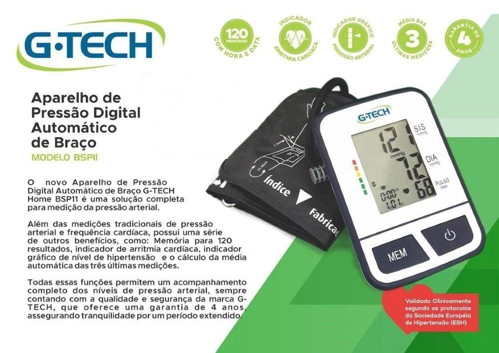 Aparelho de Pressão Digital Automático de Braço Gtech com 120 Memórias, Modelo BSP11