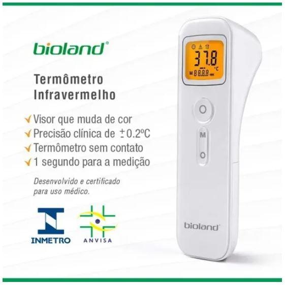 Termômetro Clínico Digital de Testa Infravermelho Sem Contato - Bioland - Modelo E127