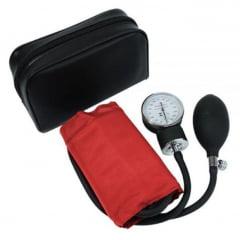 Esfigmomanômetro Aneróide Premium Adulto - Braçadeira em Nylon e Fecho em Velcro - Vermelho