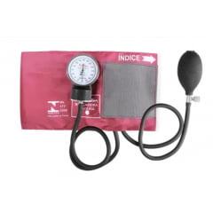 Esfigmomanômetro Aneróide Premium Adulto - Braçadeira em Nylon e Fecho em Velcro - Rosa