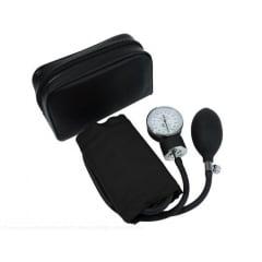 Esfigmomanômetro Aneróide Premium Adulto - Braçadeira em Nylon e Fecho em Velcro - Preto