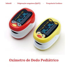 Oxímetro de Dedo Infantil Pediátrico com Oxigenação e Batimentos Cardíacos + Carregador USB + Cordão de Segurança de Ursinho