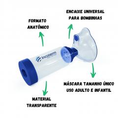 ESPAÇADOR PARA MEDICAMENTO AEROSSOL - ENCAIXE UNIVERSAL PARA BOMBINHAS - ADULTO E INFANTIL - MODELO E100 - INCOTERM